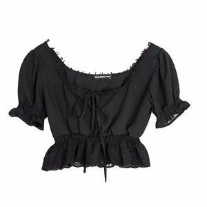 Tops - Black Lace Up Punk Top